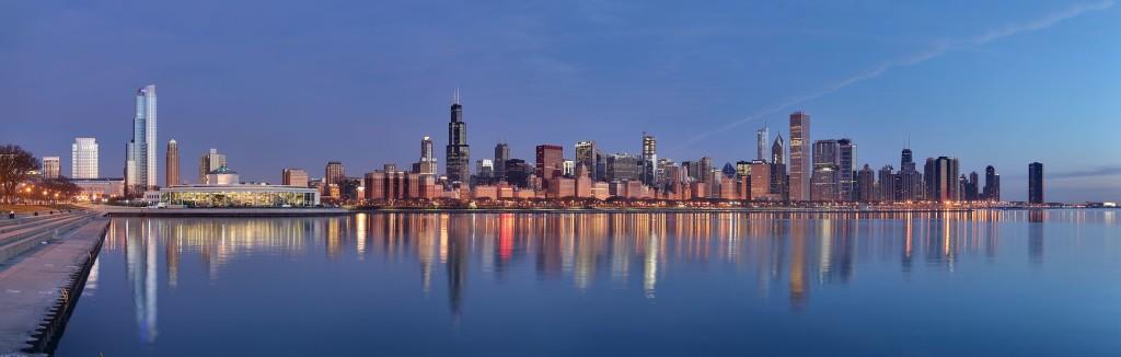 """""""Chicago sunrise 1"""" by Daniel Schwen - Own work. Licensed under CC BY-SA 4.0"""