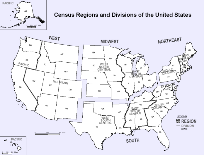 map below census divisions and regions