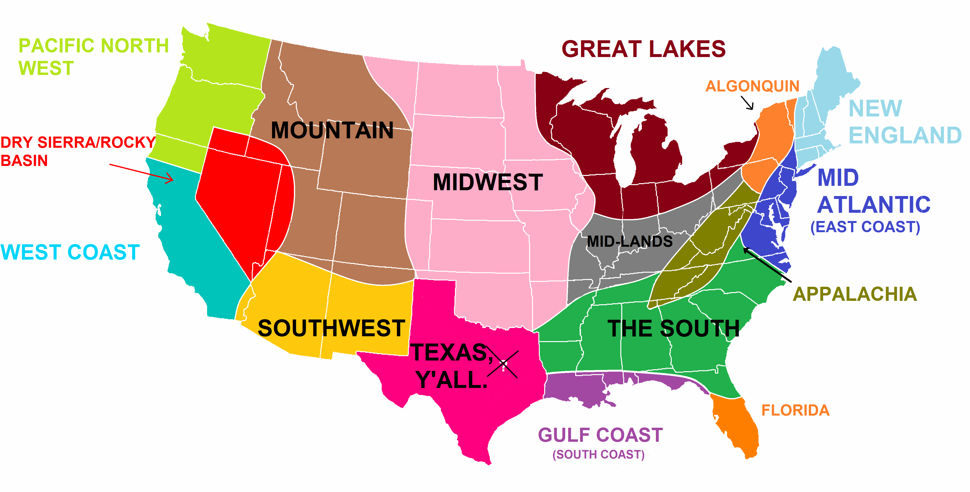 Map Of The Us By Region Globalinterco - Us states make data map
