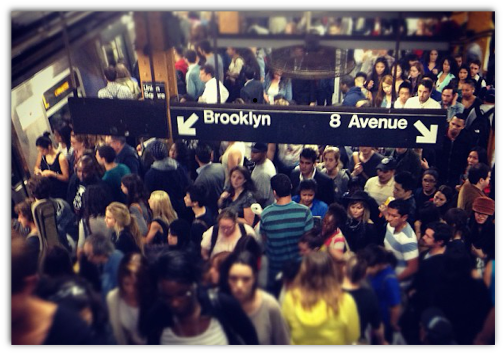 Crowded subway platform, via Flickr/Angela Rutherford, CC BY-NC-ND 2.0